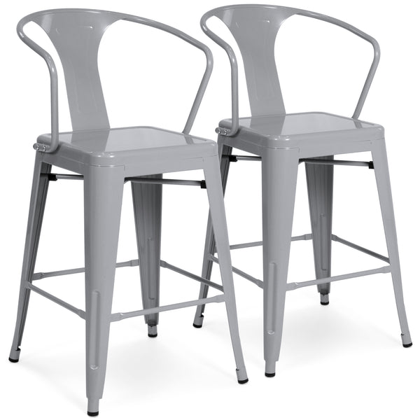 Best Choice Products Set of 2 Metal Bar Stools Vintage Antique Style Bar Stool  Arm Chair Silver