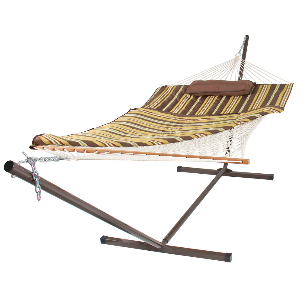12ft Cotton Double Hammock Set W/ Stand, Pillow   Multicolor Brown