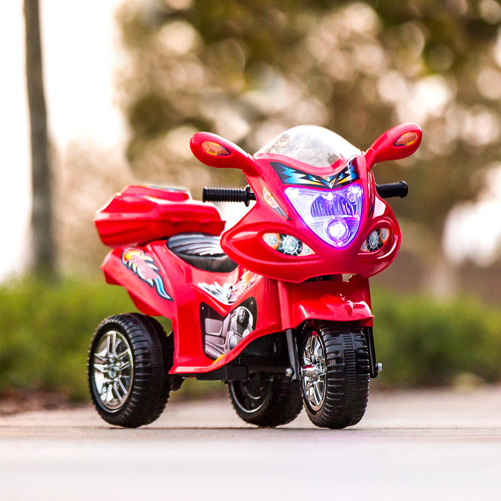 Kids Ride On Motorcycle W/ 3 Wheels - Red