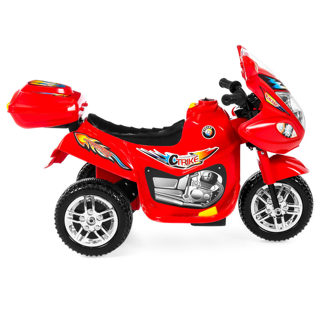 6V Kids 3-Wheel Motorcycle Ride-On Toy w/ LED Lights, Music, Storage