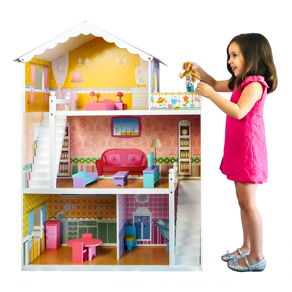 3-Story Kids Wooden Dollhouse Set W/ 17 Furniture