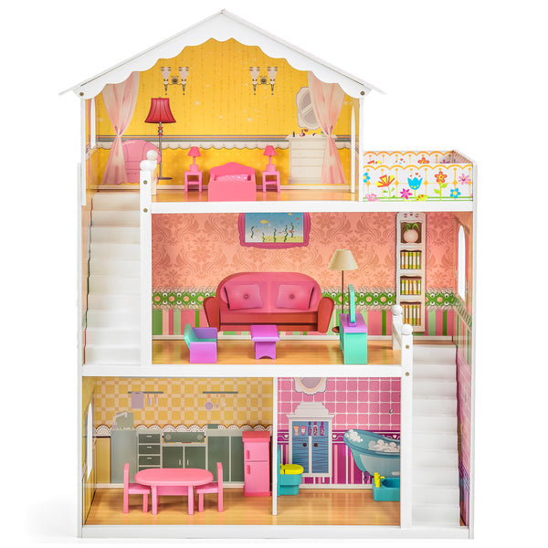 3-Story Kids Wooden Dollhouse Set w/ 17 Furniture - Multicolor