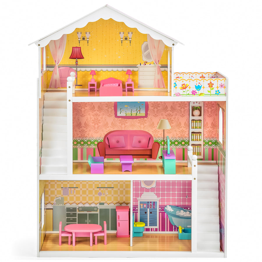 kids large wooden dollhouse w 17 pieces of furniture best choice products. Black Bedroom Furniture Sets. Home Design Ideas