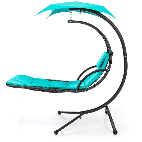 Hanging Chaise Lounge Chair w/ Canopy - Teal