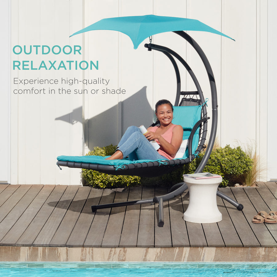 Hanging Chaise Lounge Chair w/ Canopy