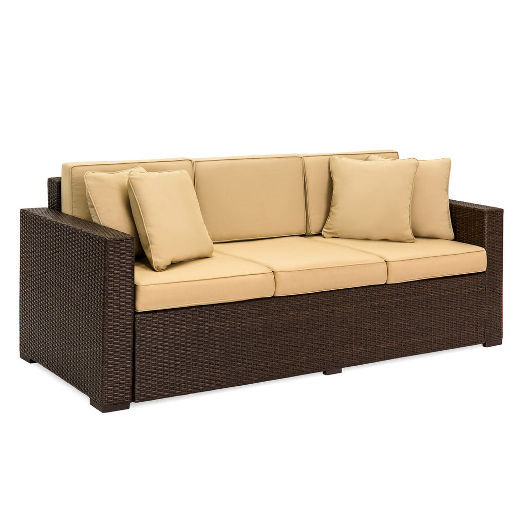 3 seat wicker sofa w cushions best choice products. Black Bedroom Furniture Sets. Home Design Ideas