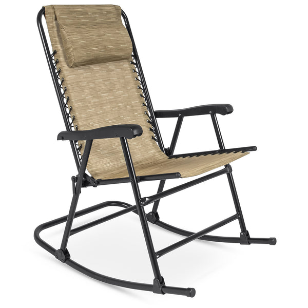 Foldable Zero Gravity Rocking Recliner Chair - Beige