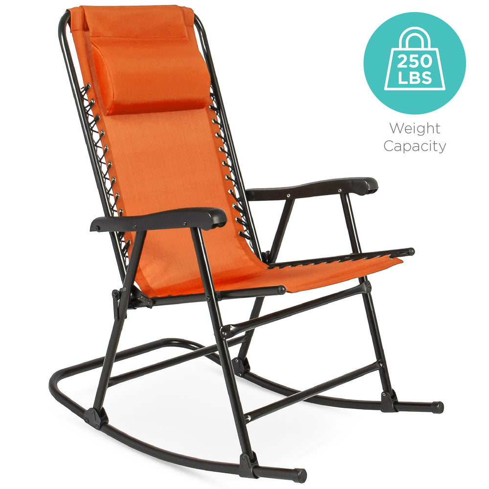 Foldable Zero Gravity Rocking Chair   Red