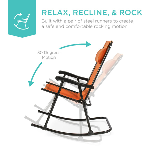 Foldable Zero Gravity Rocking Chair - Red