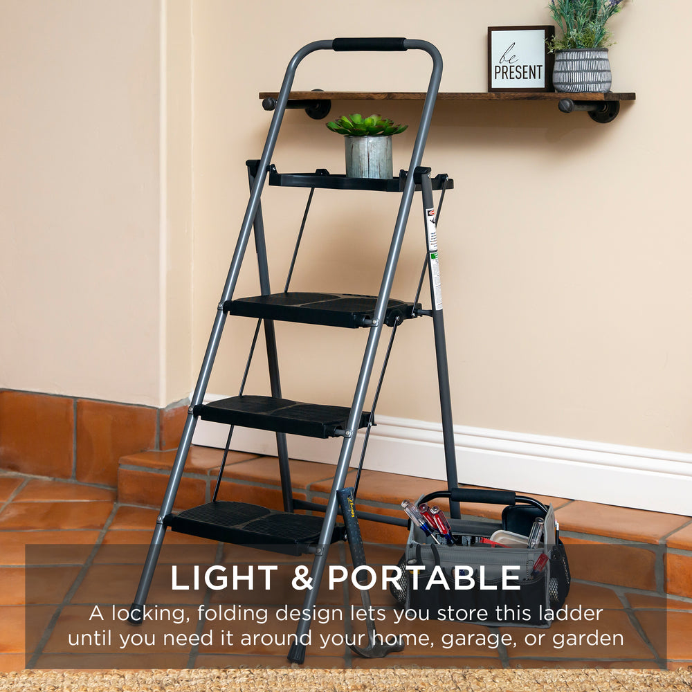 Folding Steel 3-Step Ladder w/ Hand Grip, Wide Steps, 330lbs Capacity