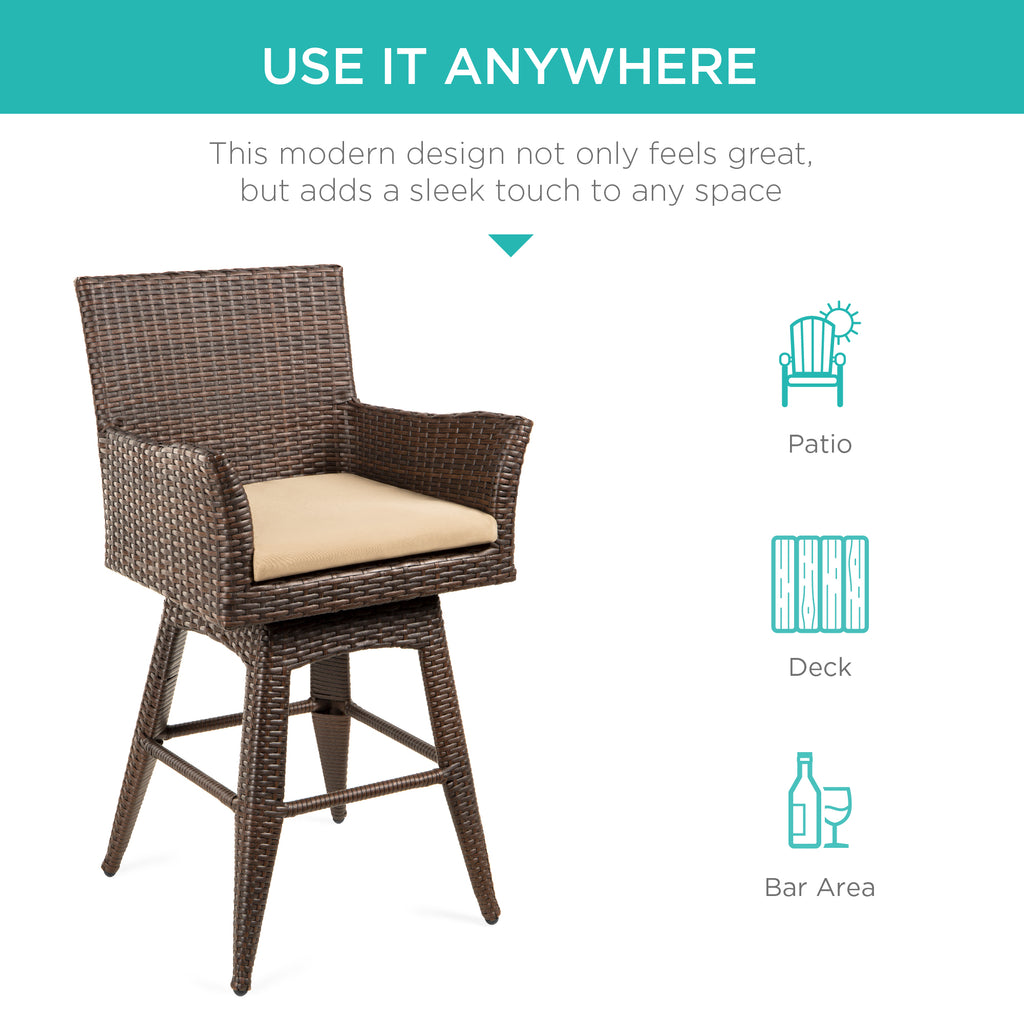 All-Weather Wicker Counter-Height Swivel Bar Stool w/ Cushion