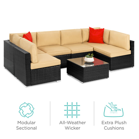Modular 7-Piece Patio Wicker Sectional Conversation Furniture Set w/ Cover & Save On Patio Furniture Sets | BestChoiceProducts.com u2013 Best Choice ...