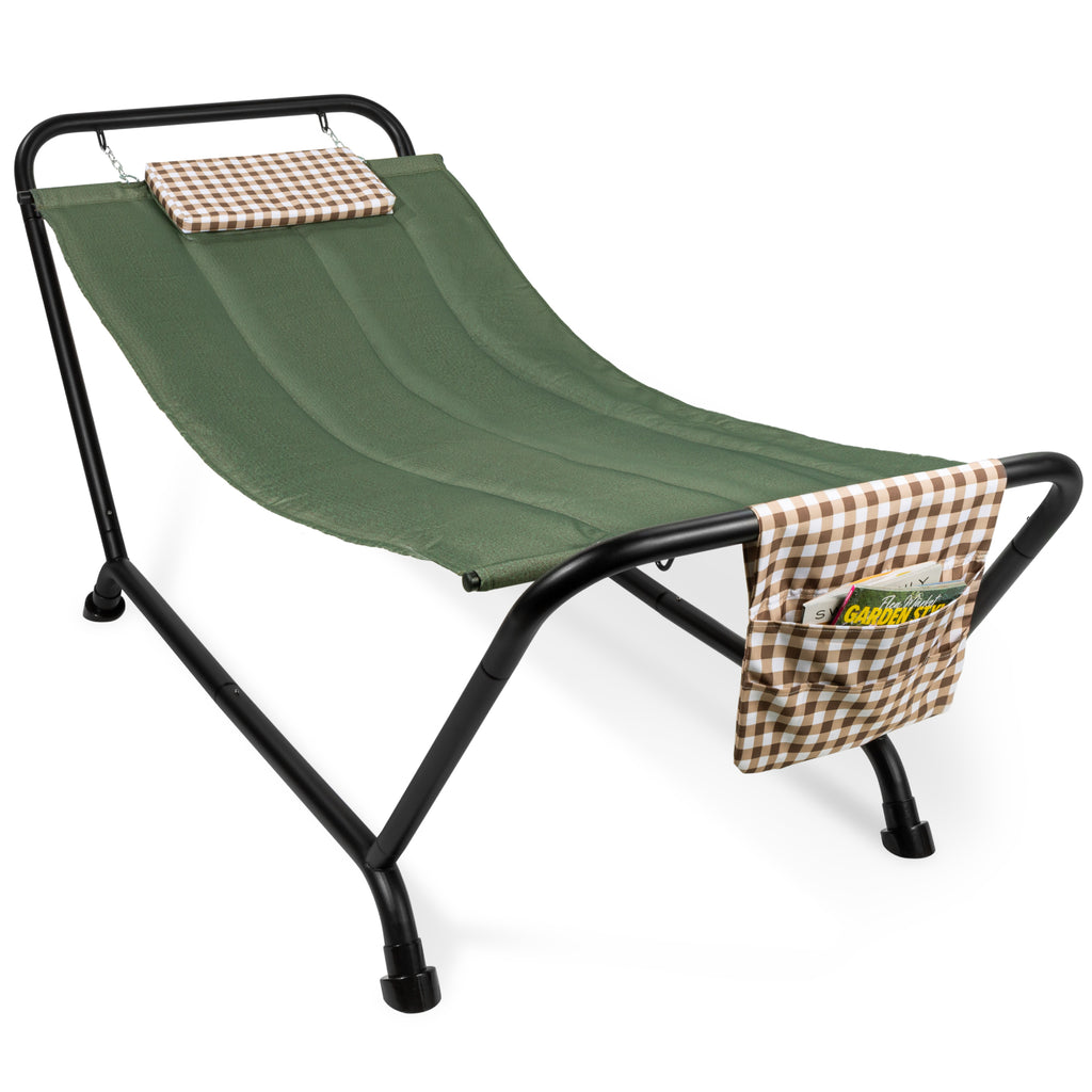 Outdoor Patio Hammock for Backyard, Garden w/ Stand, Pillow, Storage Pockets