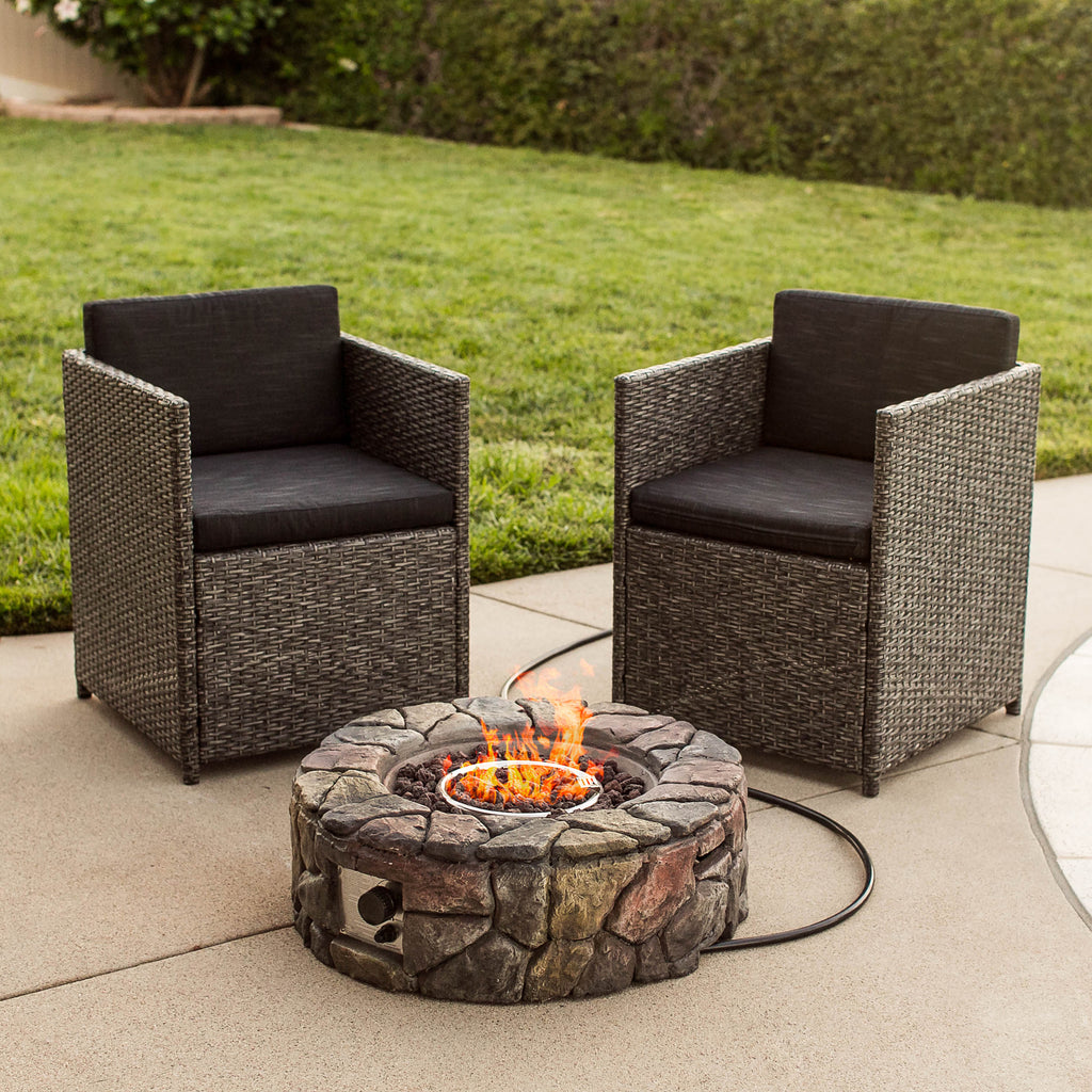 Outdoor Stone Gas Fire Pit w/ Ignition Button, Flame Control Knob - Multi