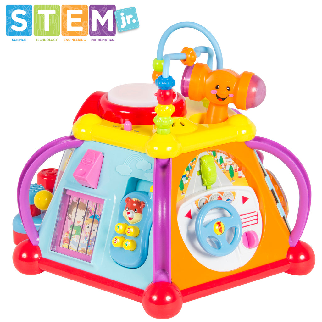 Kids Musical Learning Activity Cube Toy w/ 15 Features, Lights, Sounds