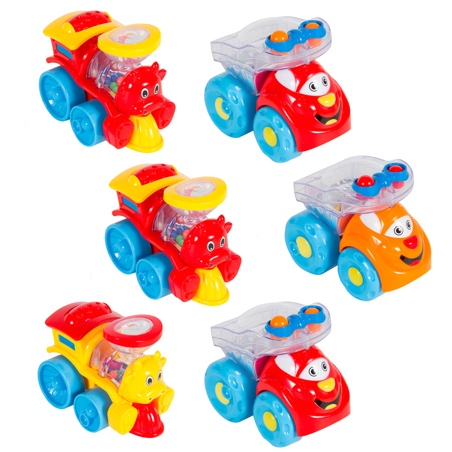 Set of 6 Wind Up Toy Cars and Trains