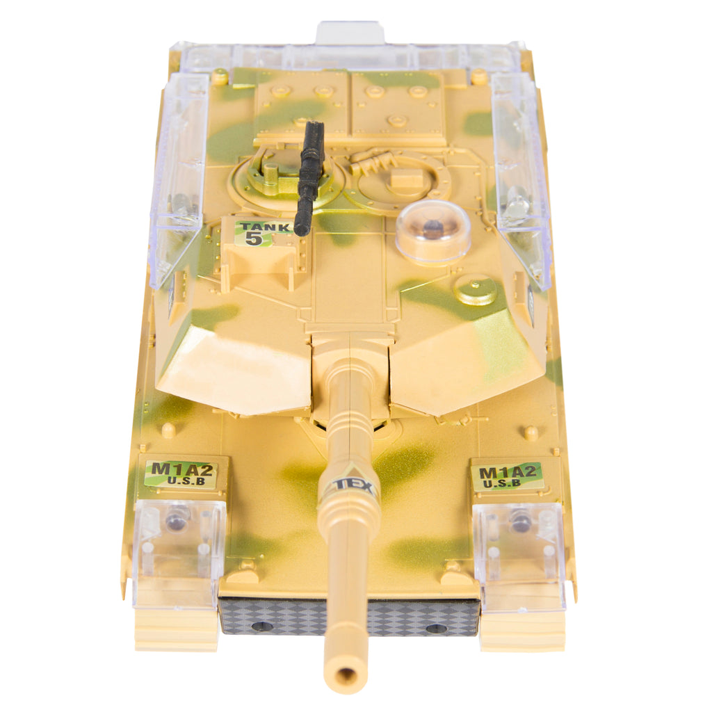 Kids Military Tank Toy w/ Lights, Sound, Bump and Go Action - Beige