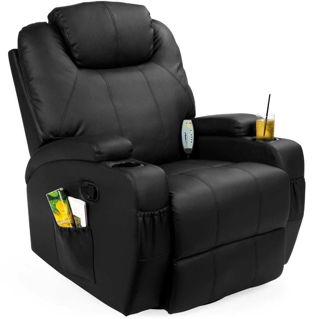 Faux Leather Swivel Glider Massage Recliner Chair w/ Remote Control, 5 Modes
