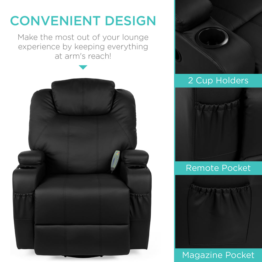 Faux Leather Swivel Massage Recliner Chair w/ Remote Control, 5 Modes