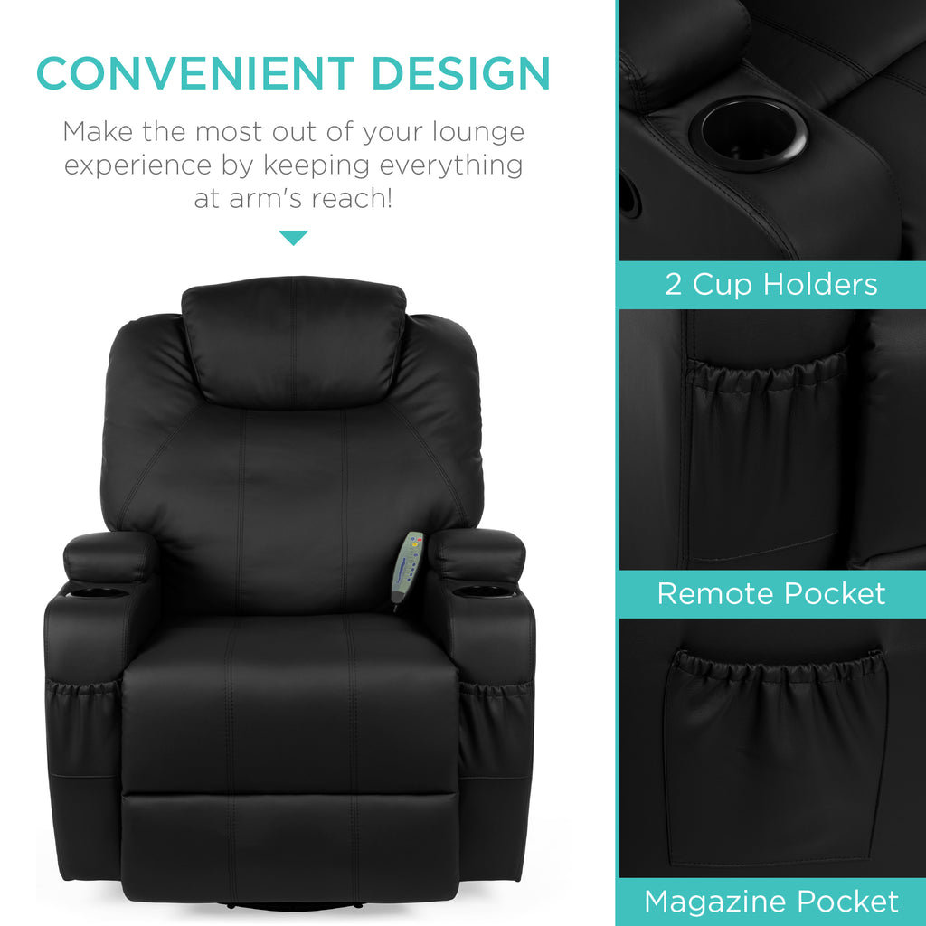 Swivel Massage Recliner Chair w/ Remote Control, 5 Modes