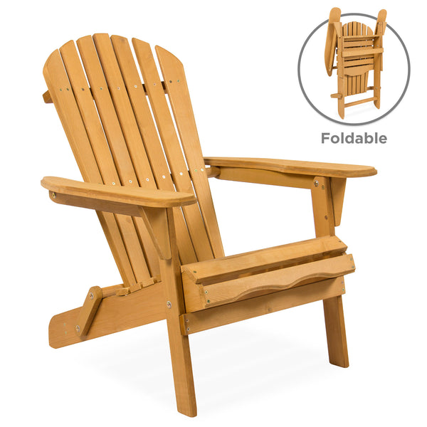 Foldable Wood Adirondack Chair For Patio, Yard, Deck, Outdoor   Natural  Finish