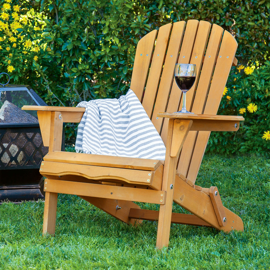 Folding Wood Adirondack Chair Accent Furniture W Natural