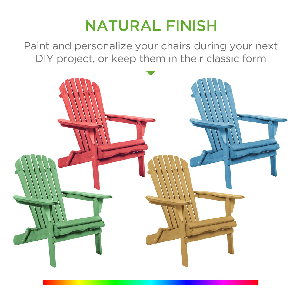 Folding Wood Adirondack Chair Accent Furniture w/ Natural Finish - Brown