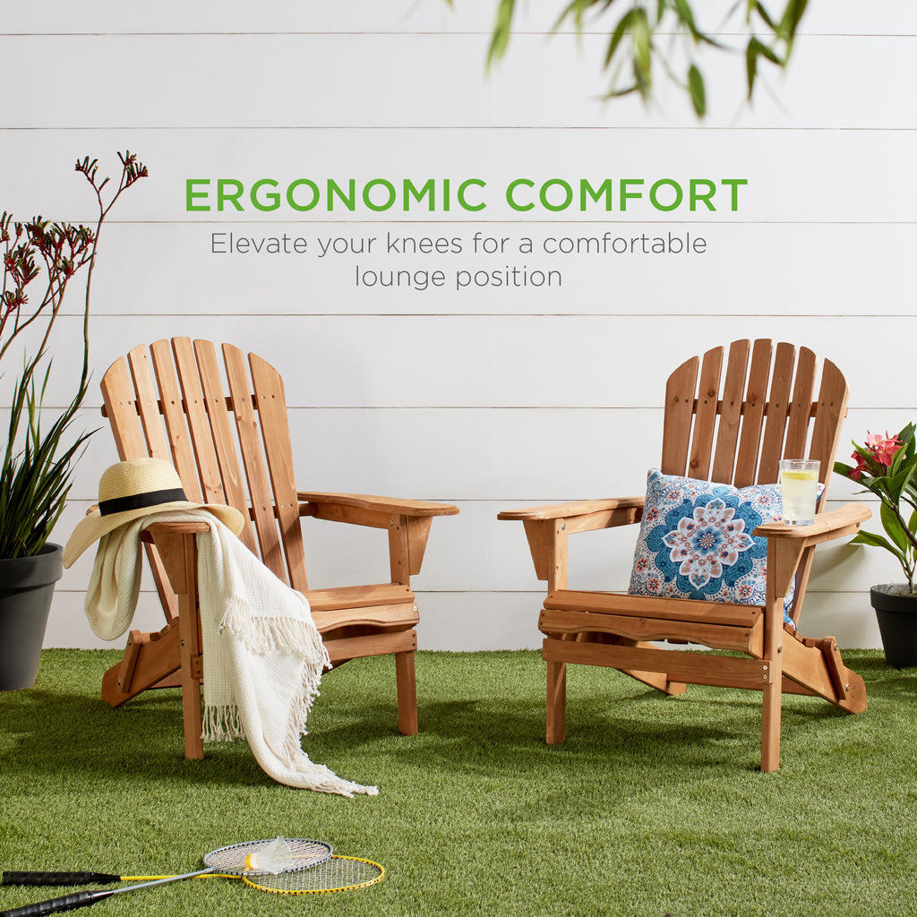 Folding Wood Adirondack Chair Accent Furniture w/ Natural ...