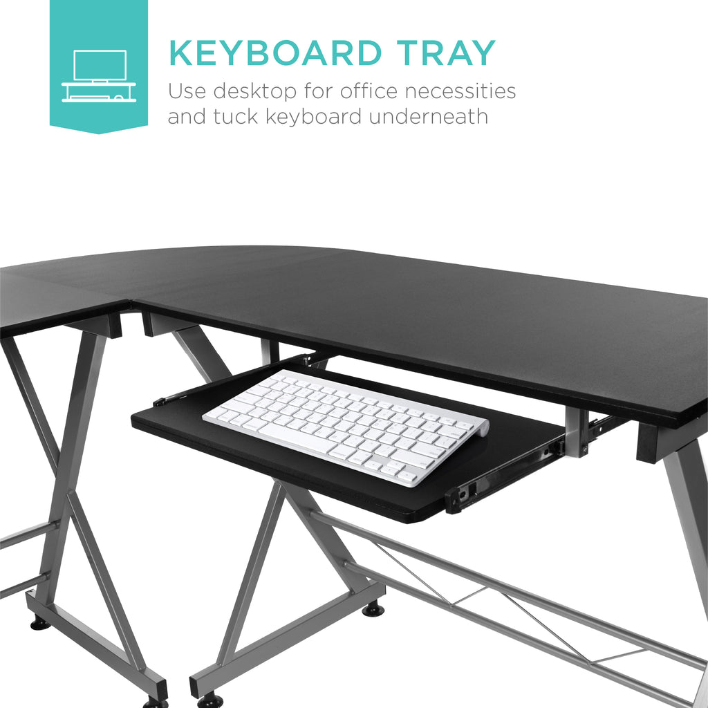 Modular L-Shape Corner Computer Desk w/ Wooden Tabletop, Keyboard Tray
