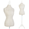 Female Mannequin Display w/ Stripe Pattern - Brown/White