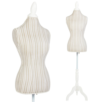 Female Mannequin Torso Dress Form Display W/ White Tripod Stand Designer Pattern