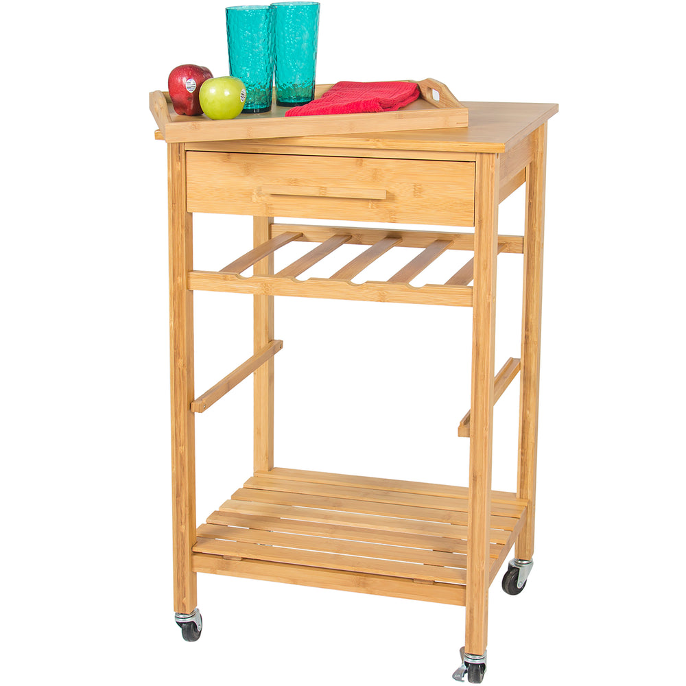 Rolling Kitchen Storage Cart - Tan – Best Choice Products