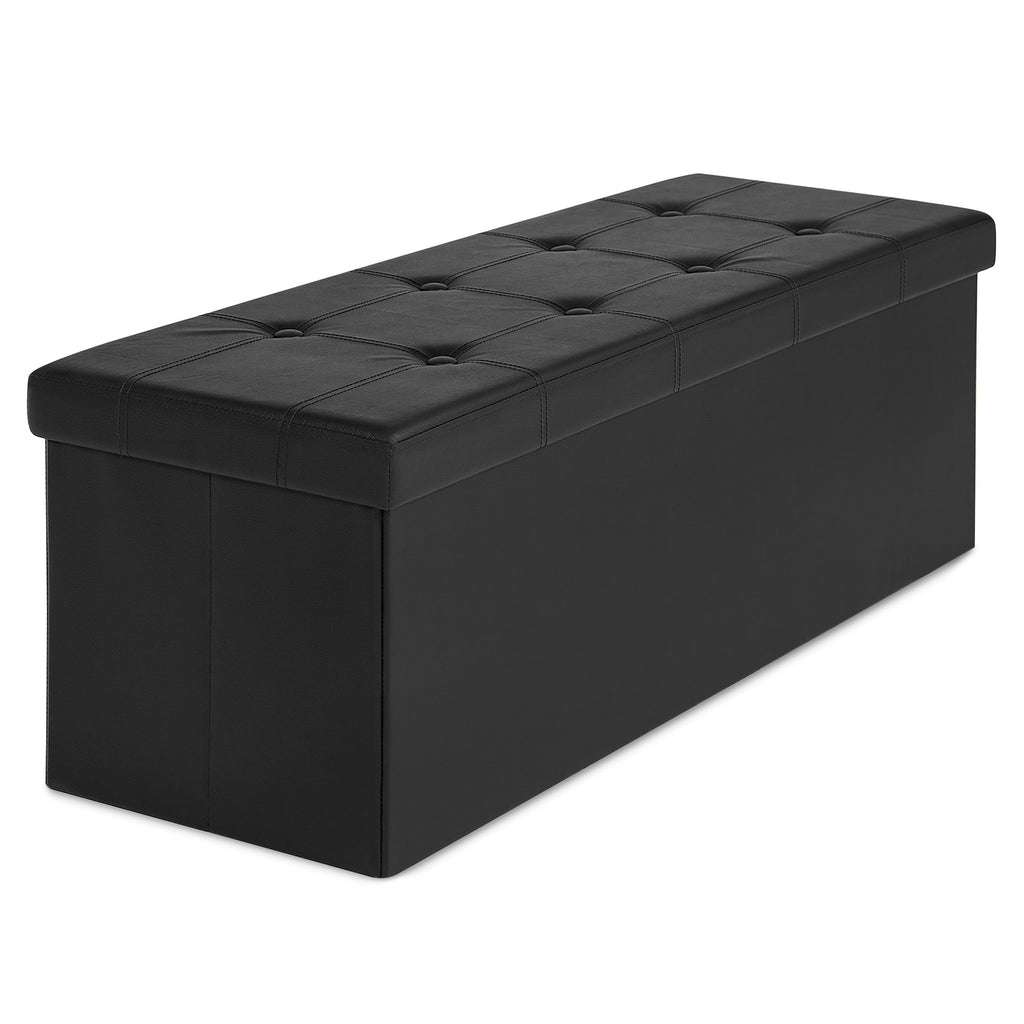 Faux Leather Folding Storage Ottoman Bench