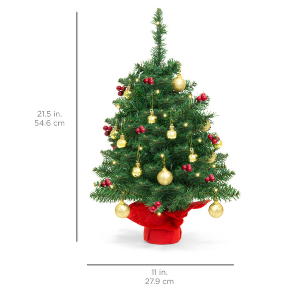 22in Tabletop Christmas Tree w/ Lights, Berries, Ornaments - Green