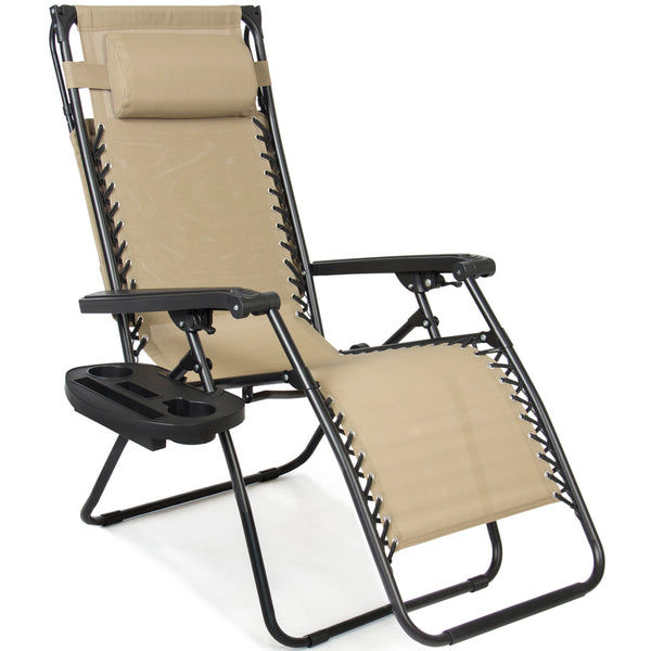 Folding Zero Gravity Recliner Lounge Chair W/ Canopy Shade U0026 Magazine Cup  Holder (Brown