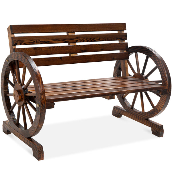 2-Person Rustic Wooden Wagon Wheel Bench w/ Slatted Seat and Backrest $104.99