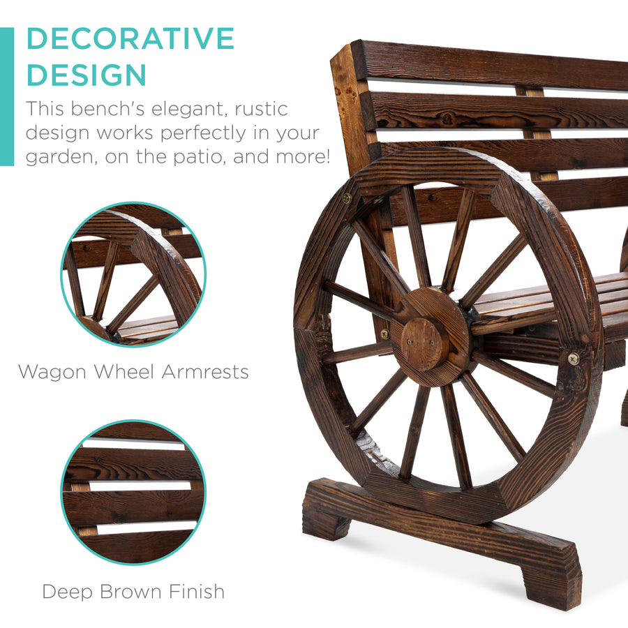 Wooden Wagon Wheel Bench Brown Best Choice Products