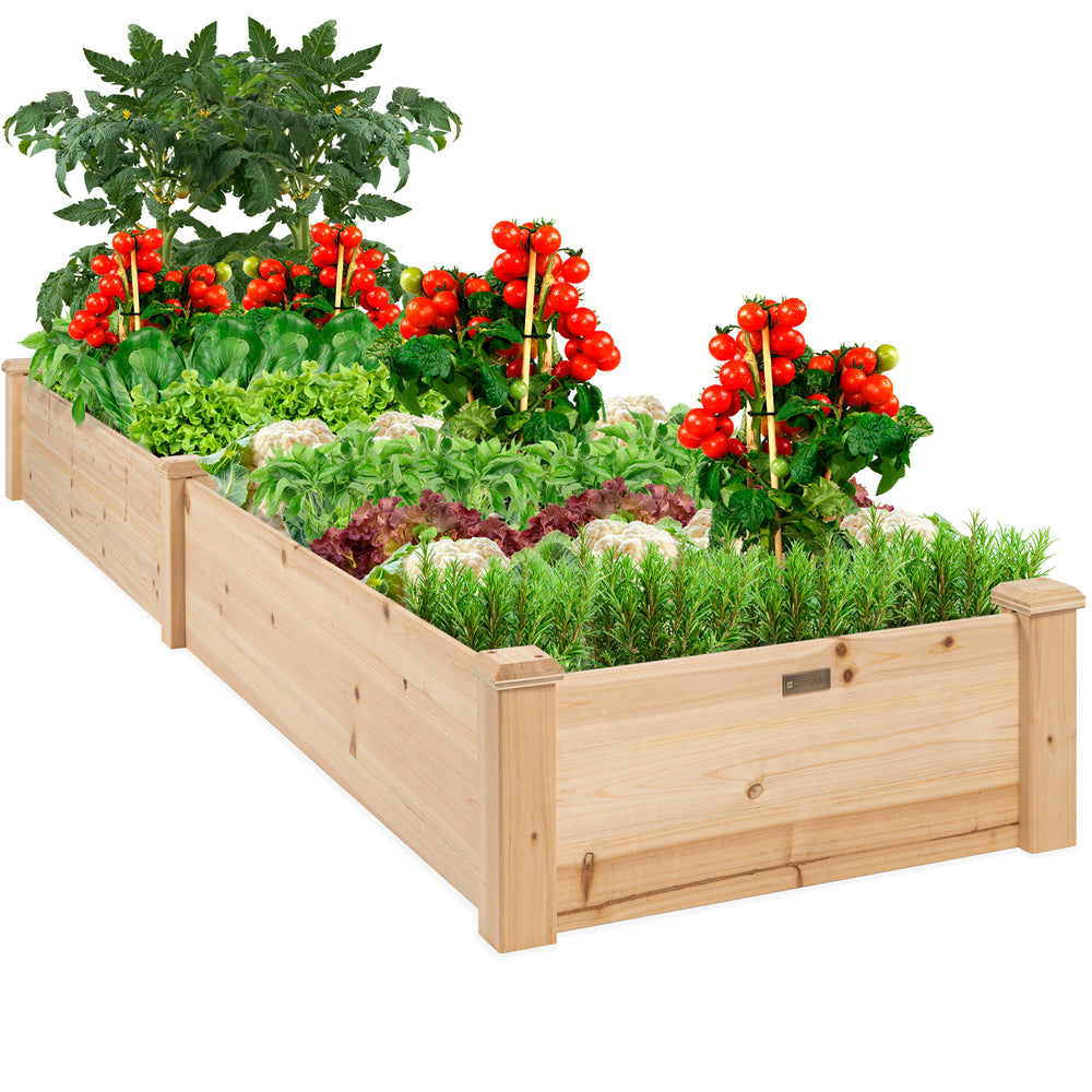 8x2ft Wooden Raised Garden Bed Planter for Garden, Lawn, Yard
