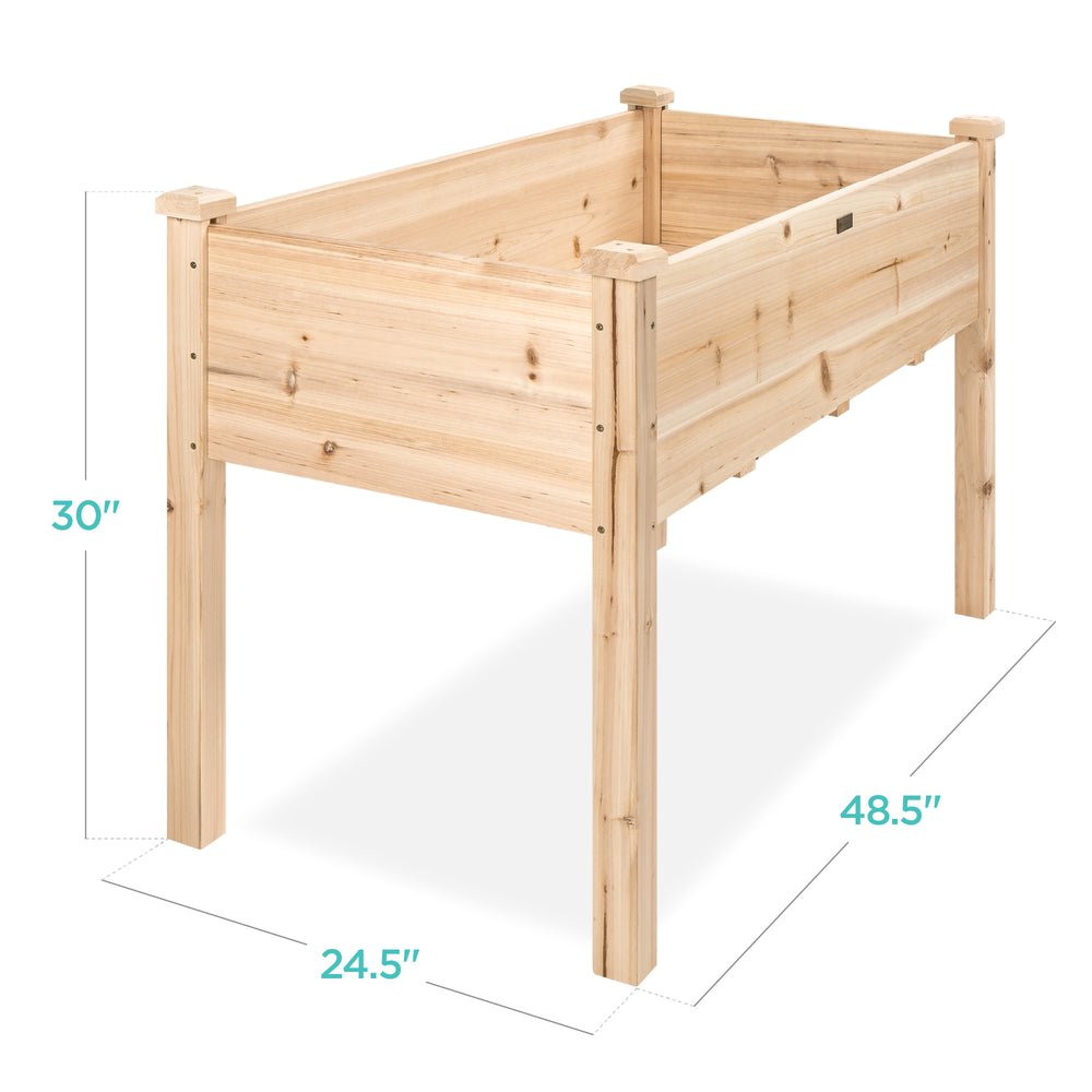Raised Garden Bed Elevated Wood Garden Planter Stand of 48x24x30in