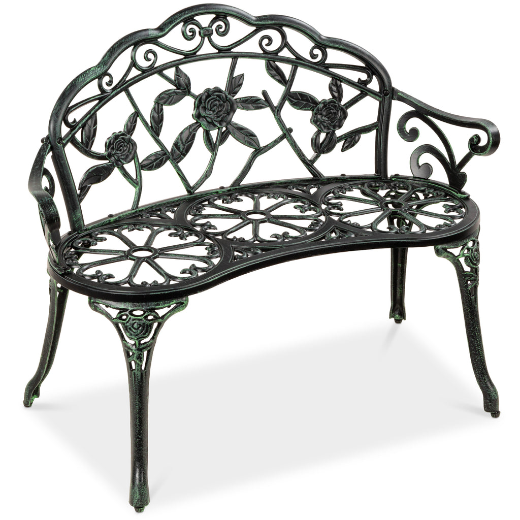 Steel Garden Bench Outdoor Patio Furniture w/ Floral Rose Accent  - 39in