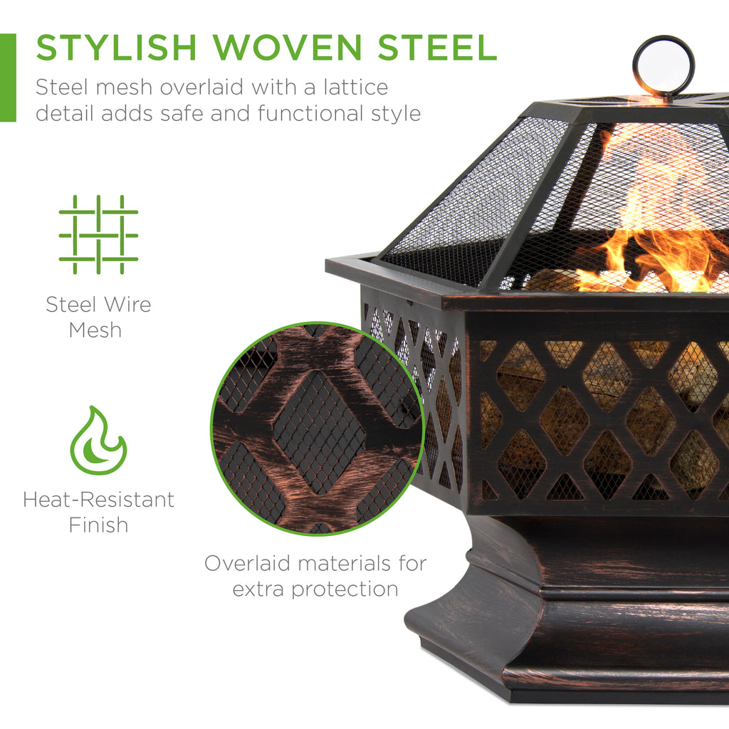 Hex-Shaped Outdoor Fire Pit w/ Flame-Retardant Lid - 24in