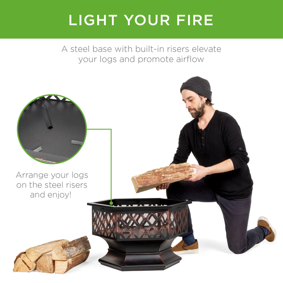 24in Hex-Shaped Fire Pit Decoration w/ Flame-Retardant Lid - Black