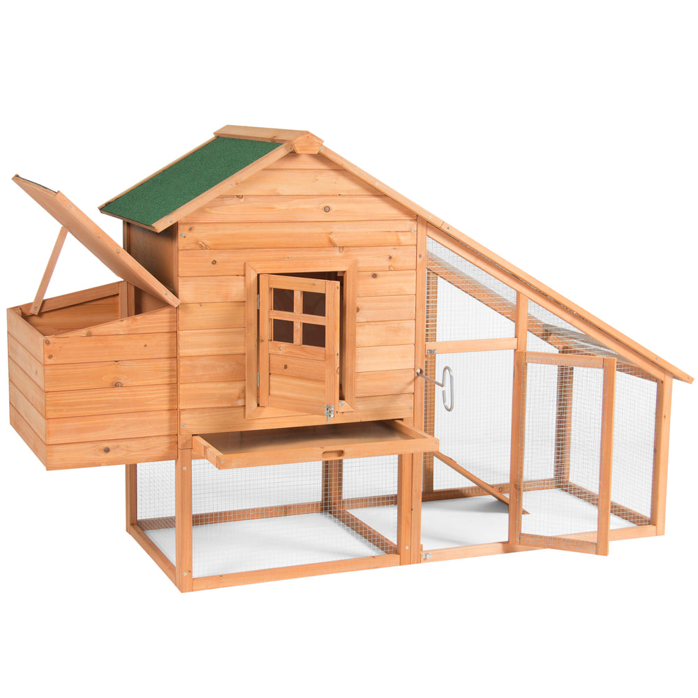 75in Wooden Chicken Coop Hen House Cage - Natural/Green