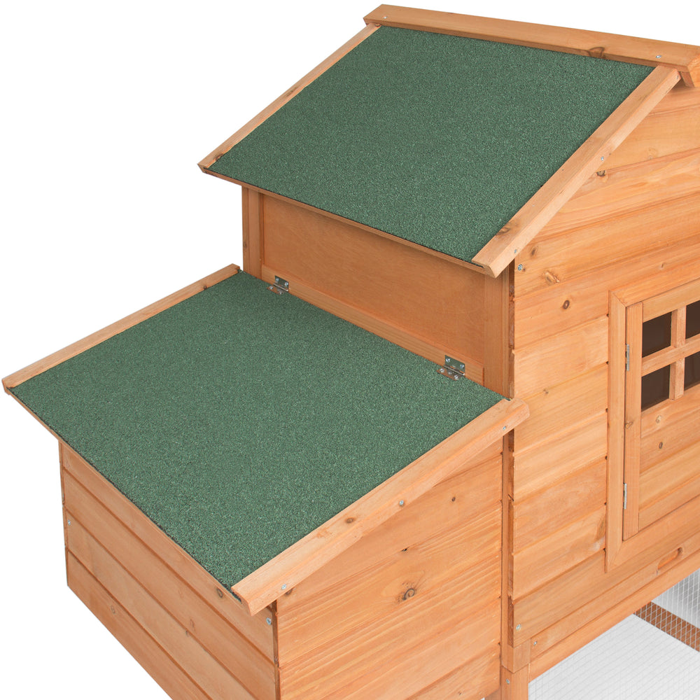 75in Wooden Chicken Coop Hen House Cage   Natural/Green