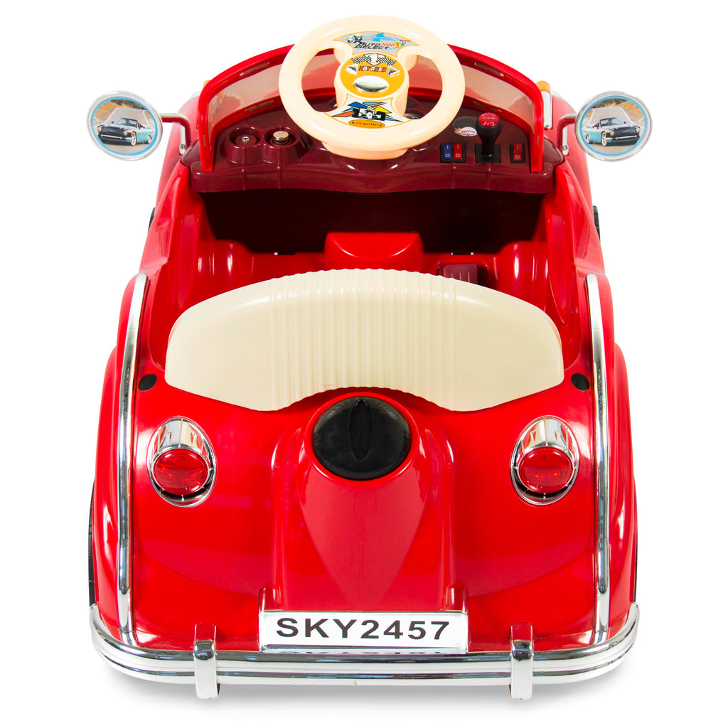 Kids Classic Car Electric Ride-On Toy w/ Sounds, Music, Lights - Red