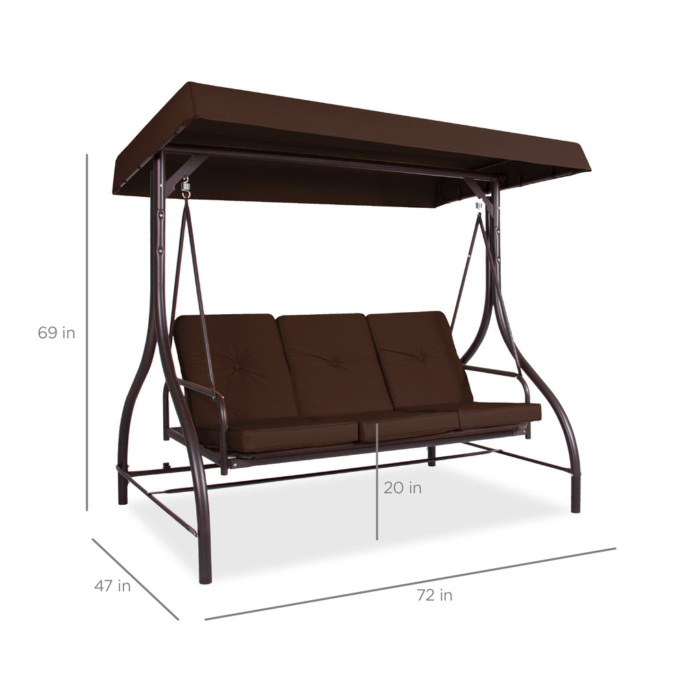 3-Seat Outdoor Canopy Swing Glider Furniture w/ Converting Flatbed Backrest