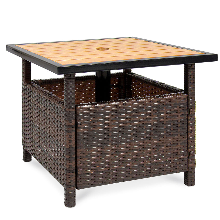 Wicker Patio Umbrella Stand Table Brown Best Choice Products