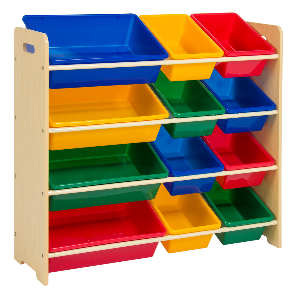 Best Choice Products 4-Tier Kids Wood Toy Storage Rack with 12 Bins