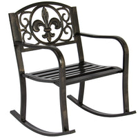 Deals on BCP Metal Outdoor Rocking Chair Seat w/Scroll Design