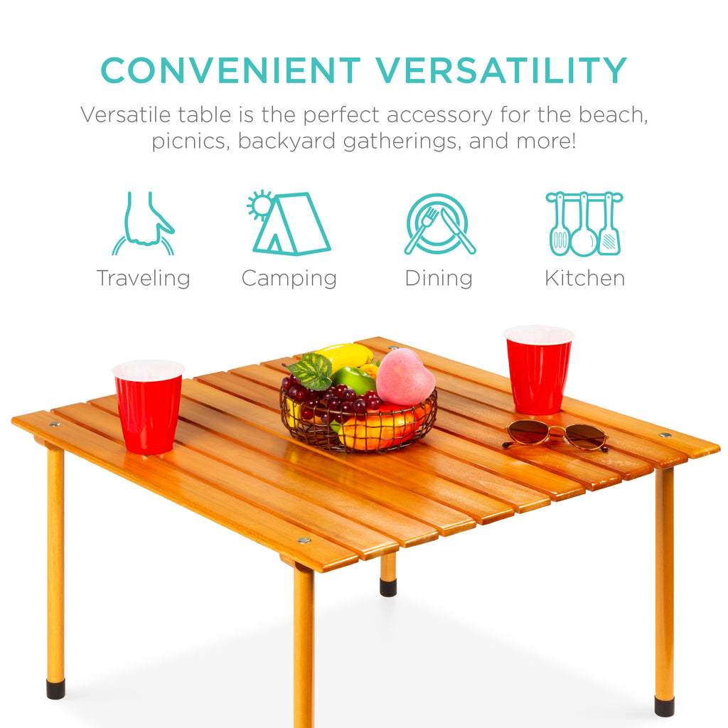 Foldable Indoor Outdoor Wooden Table w/ Carrying Case - 28x28in